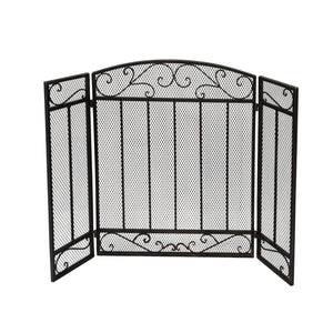 Cherry Contemporary Three Panel Iron Firescreen | Color: Yellow, Finish: Black Gold