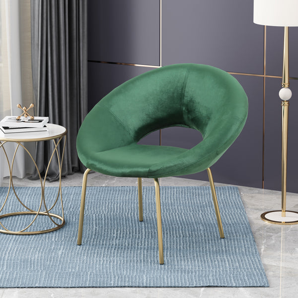 Chalmers Modern Glam Velvet Accent Chair | Color: Green, Color: Emerald
