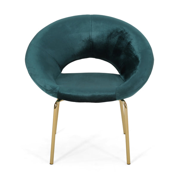 Chalmers Modern Glam Velvet Accent Chair | Color: Blue, Color: Teal