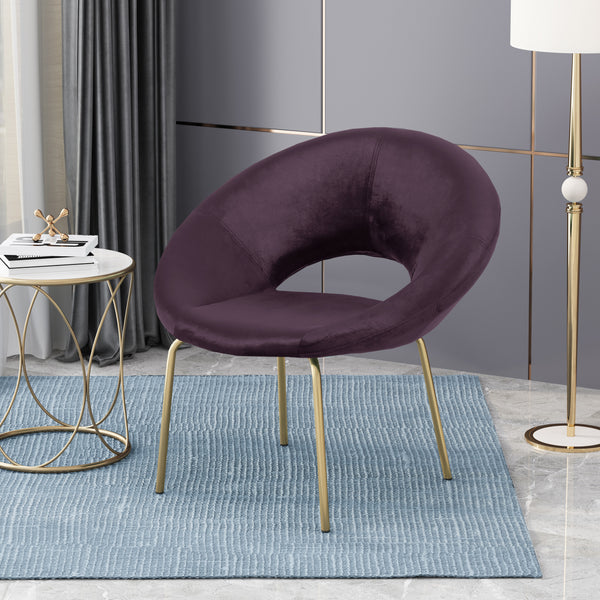 Chalmers Modern Glam Velvet Accent Chair | Color: Purple, Color: Blackberry