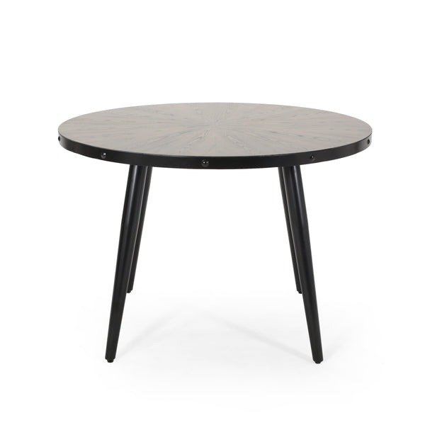 Amoret Round Dining Table with Elm Veneer Top | Color: Gray, Finish: Gray