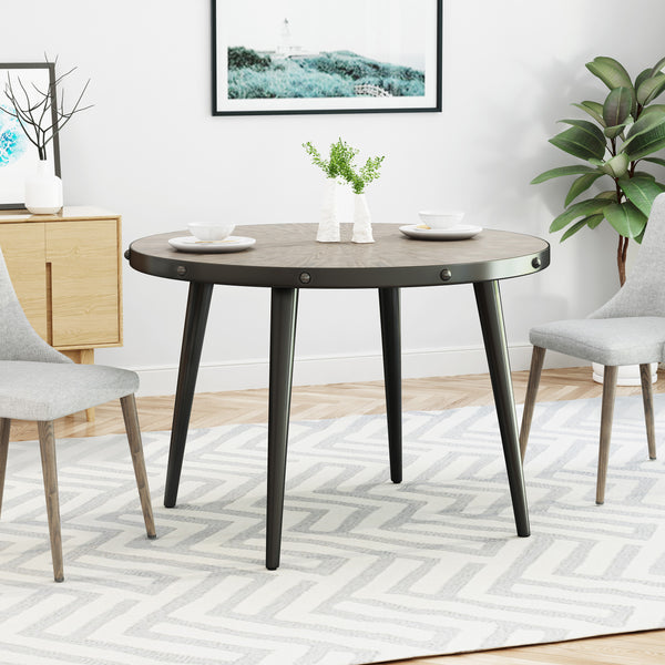 Amoret Round Dining Table with Elm Veneer Top | Color: Brown, Finish: Weathered Elm