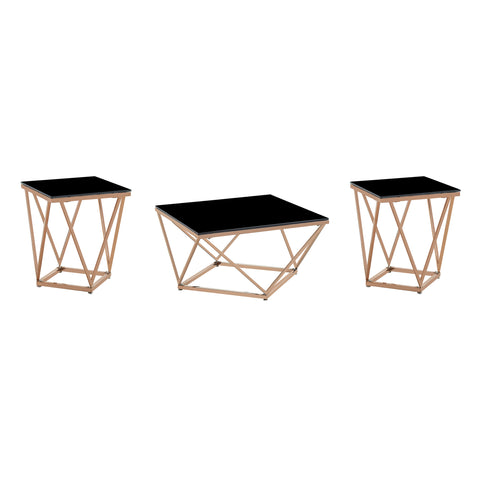 Hardwick Modern Glam Coffee and Side Table Set | Color: Orange