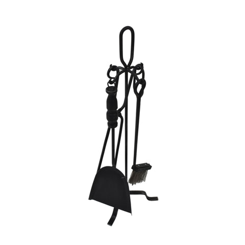 Belleau Iron Fireplace Tool Set | Color: Black, Finish: Black Brushed Silver
