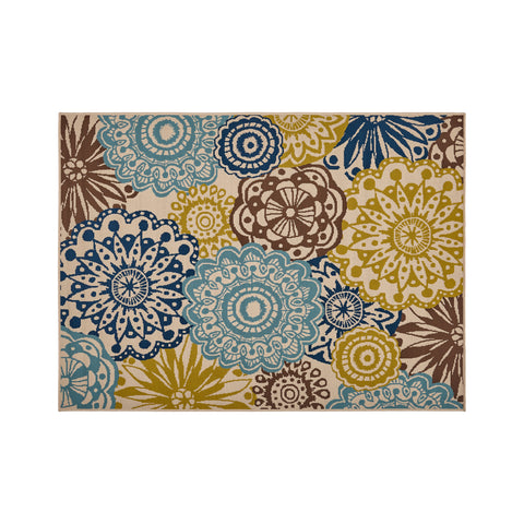 Clifton Outdoor Medallion Area Rug | Color: White, Size: 5' X 7'