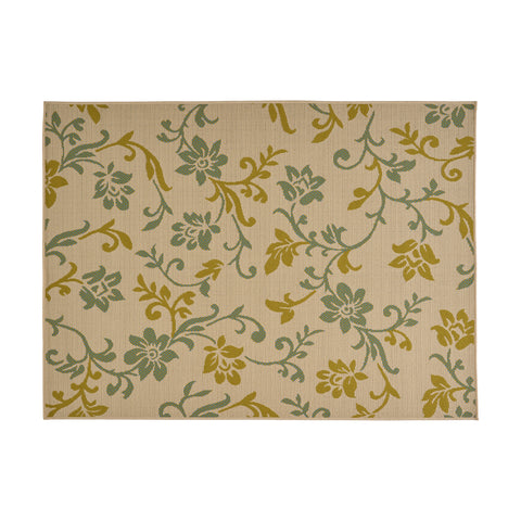 Buncombe Outdoor Botanical Area Rug | Color: Green, Size: 5' X 7'