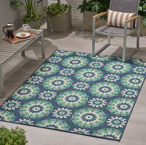 Manji Outdoor Medallion Area Rug | Color: Blue