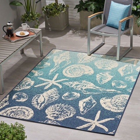 Schote Outdoor Ombre Area Rug | Color: Blue