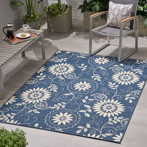 Matheson Outdoor Botanical Area Rug | Color: Blue