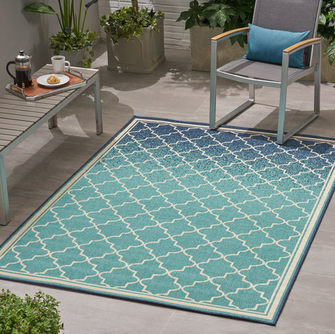 Labaron Outdoor Ombré Area Rug | Color: Blue