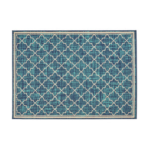 Conney Outdoor Trellis Area Rug | Color: Blue