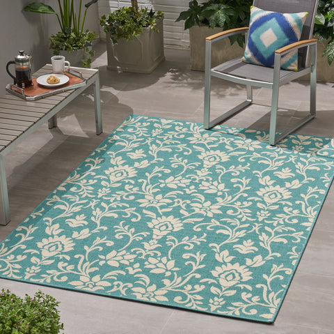 Mashta Outdoor Botanical Area Rug | Color: Blue