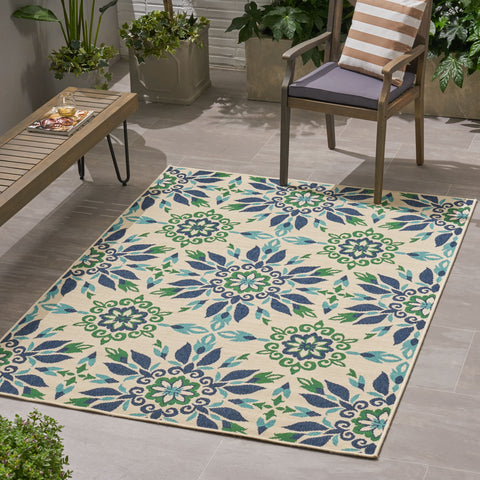 Girouard Outdoor Medallion Area Rug | Color: White
