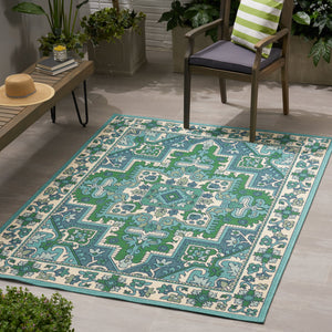 Horatius Outdoor Oriental Area Rug | Color: White