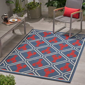 Cooper Outdoor Trellis Area Rug | Color: Blue