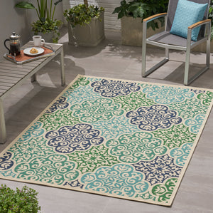 Sebastian Outdoor Medallion Area Rug | Color: White