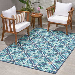 Moriah Outdoor Trellis Area Rug | Color: Blue