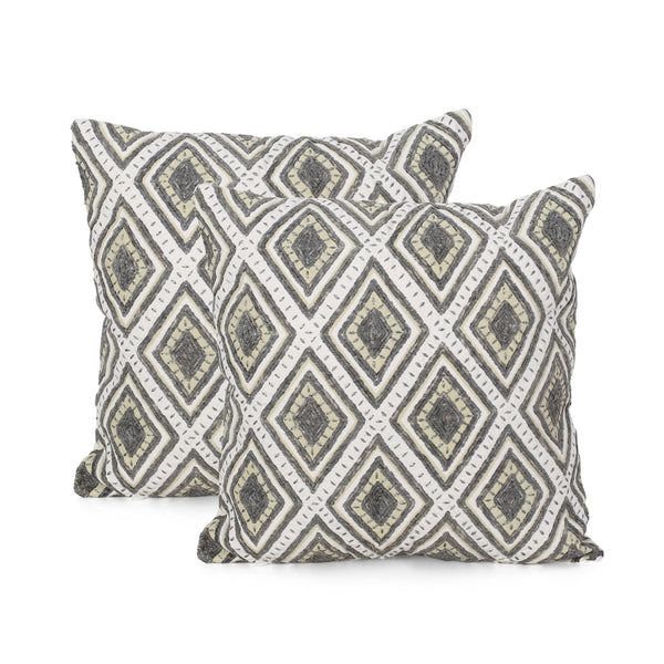 Zanova Cotton Throw Pillow | Color: Gray, Quantity: Set of 2