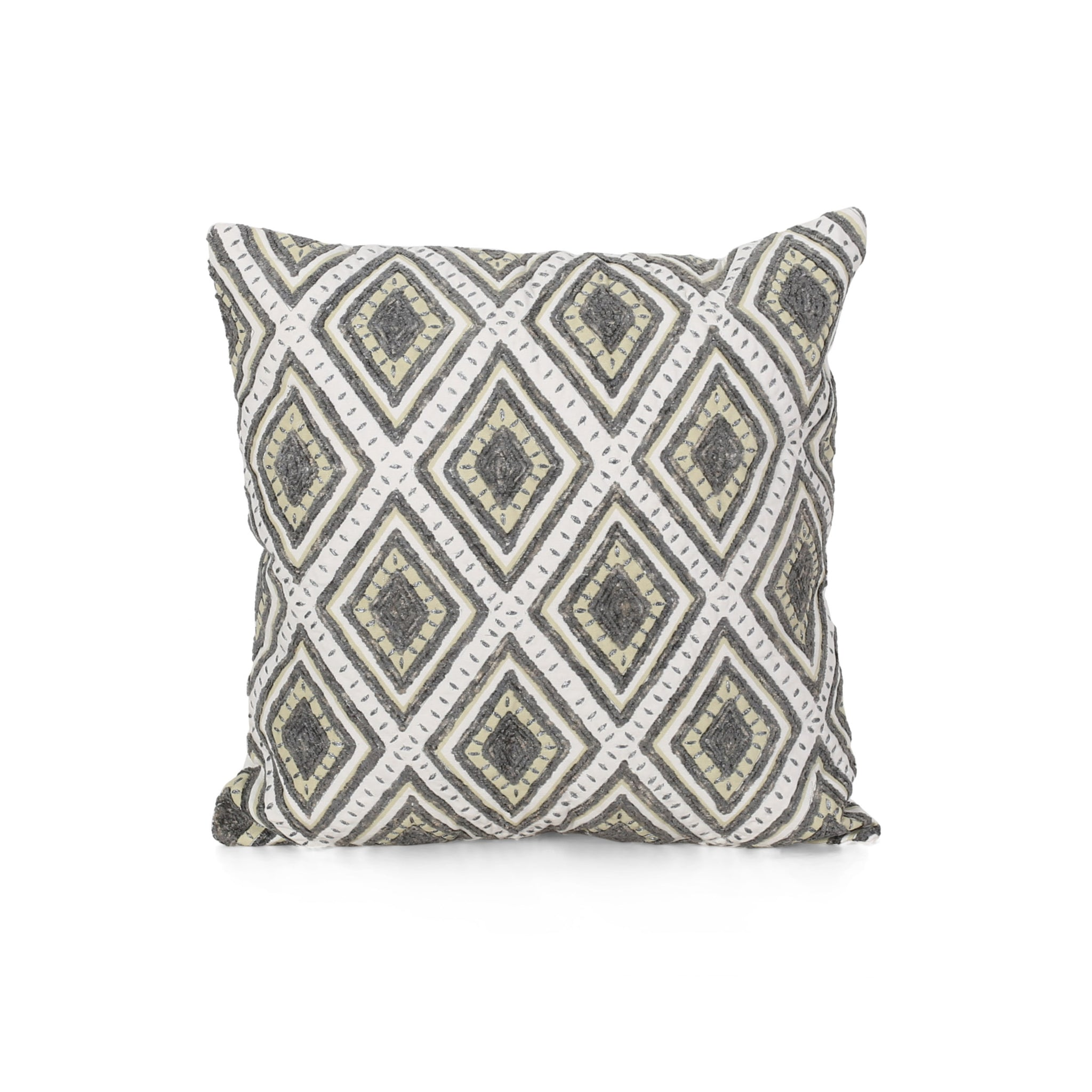 Zanova Cotton Throw Pillow | Color: Gray, Quantity: Single