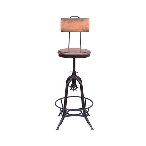 Byfield Modern Industrial Acacia Wood Bar Stool | Color: Brown