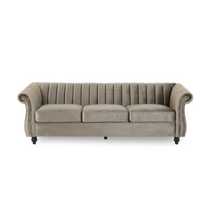 Breton Modern Glam Channel-Tufted Sofa | Color: Natural, Color: Dark Taupe