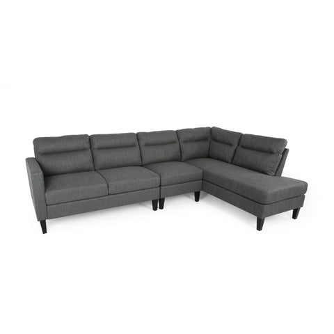 Halford Modern Fabric 4 Seater Sectional Sofa with Chaise Lounge | Color: Gray, Color: Charcoal