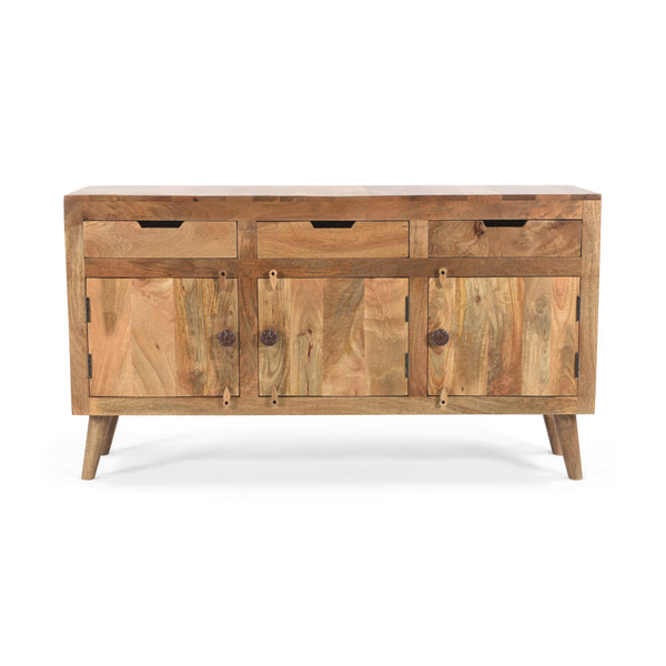 Perras Boho Mango Wood 3 Door Sideboard with 3 Drawers | Color: Natural