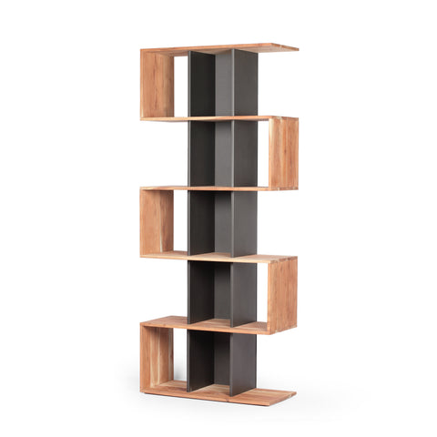 Halston Handcrafted Modern Acacia Wood Bookshelf | Color: Gray