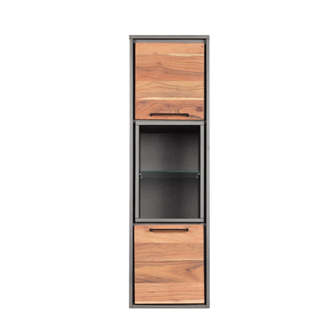 Halkirk Handcrafted Modern Acacia Wood Cabinet | Color: Gray