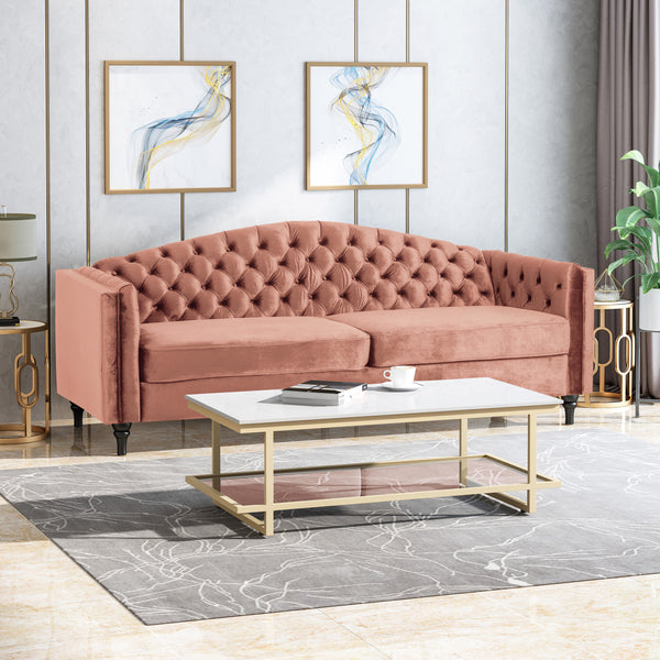 Alcester Traditional Button-Tufted Sofa | Color: Red, Material: Velvet, Velvet: Color, Color: Blush