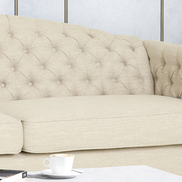 Alcester Traditional Button-Tufted Sofa | Color: Natural, Material: Fabric, Fabric: Color, Color: Beige