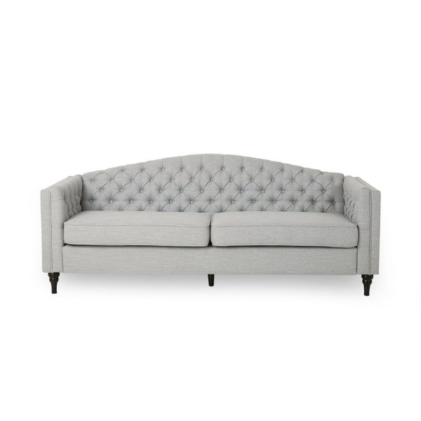 Alcester Traditional Button-Tufted Sofa | Color: Gray, Material: Fabric, Fabric: Color, Color: Cloud Gray