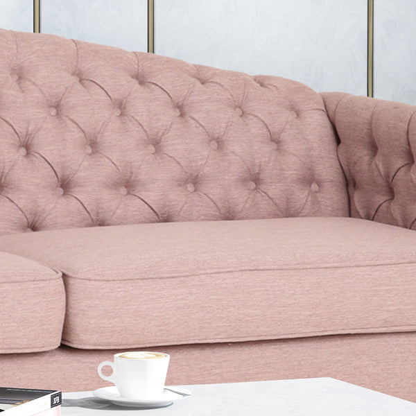 Alcester Traditional Button-Tufted Sofa | Color: Red, Material: Fabric, Fabric: Color, Color: Light Blush