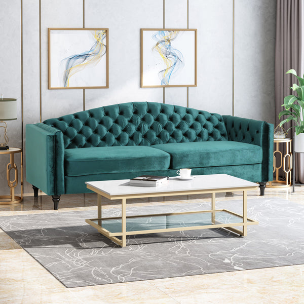Alcester Traditional Button-Tufted Sofa | Color: Blue, Material: Velvet, Velvet: Color, Color: Teal