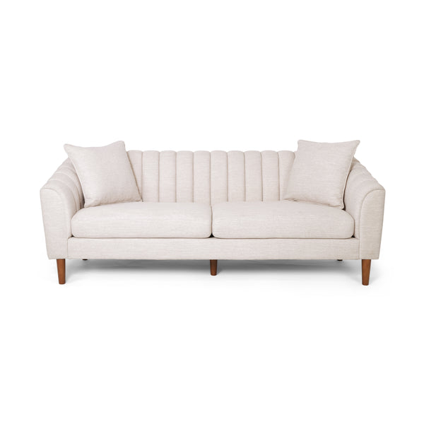 Almira Contemporary Channel-Tufted Sofa | Color: Natural, Material: Fabric, Fabric: Color, Color: Beige