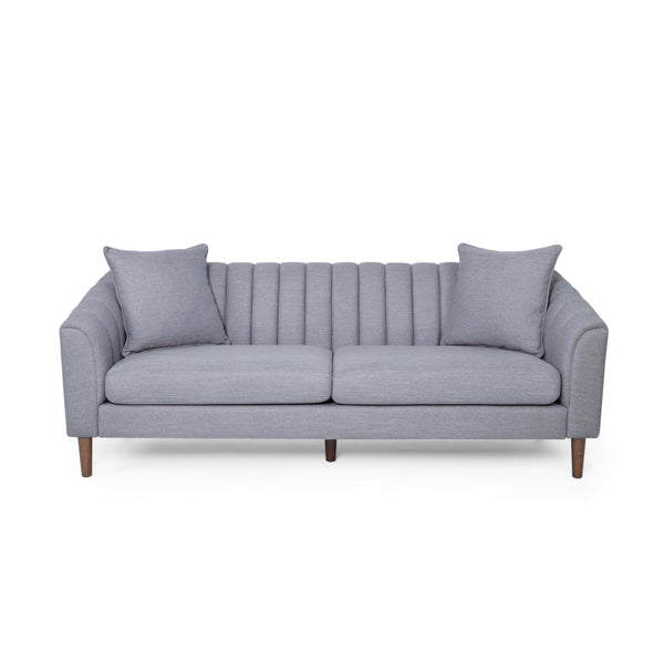 Almira Contemporary Channel-Tufted Sofa | Color: Gray, Material: Fabric, Fabric: Color, Color: Cloud Gray