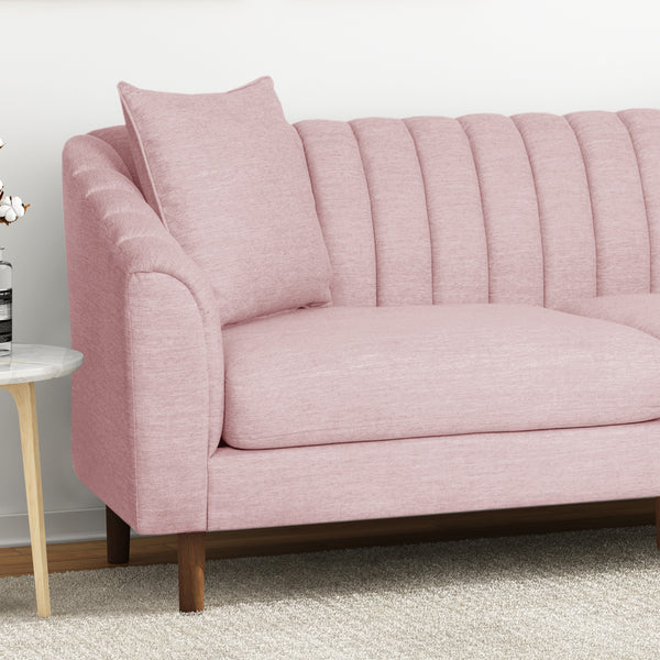 Almira Contemporary Channel-Tufted Sofa | Color: Red, Material: Fabric, Fabric: Color, Color: Light Blush