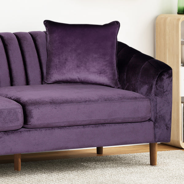 Almira Contemporary Channel-Tufted Sofa | Color: Purple, Material: Velvet, Velvet: Color, Color: Blackberry