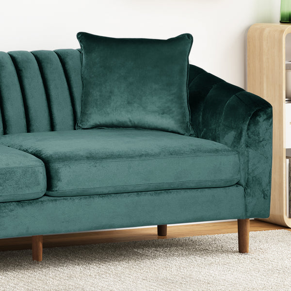 Almira Contemporary Channel-Tufted Sofa | Color: Blue, Material: Velvet, Velvet: Color, Color: Teal