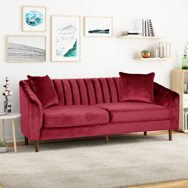 Almira Contemporary Channel-Tufted Sofa | Color: Red, Material: Velvet, Velvet: Color, Color: Wine