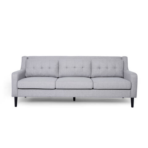 Halifax Tufted Fabric 3 Seater Sofa | Color: Gray, Color: Cloud Gray