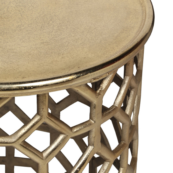 Colton Modern Glam Aluminum Accent Table | Color: Yellow