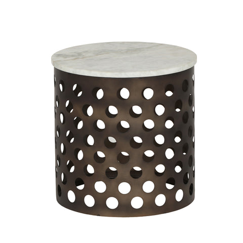 Frazier Modern Industrial Iron Accent Table with Marble Table Top | Color: Black