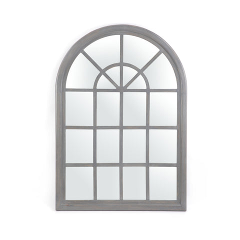 Lovat Traditional Arched Windowpane Mirror | Color: Gray, Finish: Gray Wash