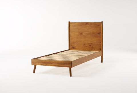 OkiOki Mid-Century Wood Bed | Color: Brown, Size: Twin XL