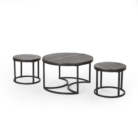 Gardenour Modern Industrial Coffee Table Set | Color: Gray, Finish: Gray
