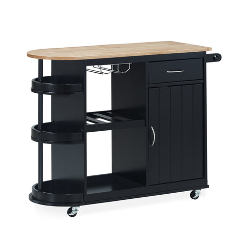 Habersham Kitchen Cart with Wheels | Color: Black, Color: Black and Natural