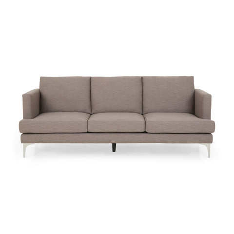 Hagner Modern Fabric 3 Seater Sofa | Color: Brown, Color: Dark Taupe