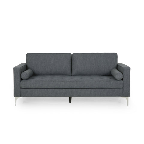 Hadley Contemporary Tufted Fabric 3 Seater Sofa | Color: Gray, Color: Charcoal