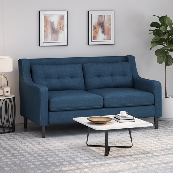 Gresham Contemporary Fabric Loveseat | Color: Blue, Color: Navy Blue